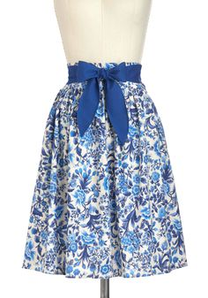 Designer Dreams Skirt in Floral - Blue, Tan / Cream, Floral, A-line, Cotton, Mid-length, Belted, Work, Casual, Daytime Party, Fairytale