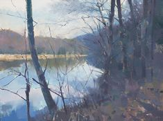 """Frank Hobbs at Page Bond Gallery, """"Morning River,"""" 2017, oil on canvas, 48x60 inches"""