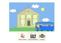 Fotogramas de distintos capítulos de Peppa Pig unidos para crear la historia de una visita escolar a un museo. Autor pictogramas Sergio Palao CC-BY-NC-SA