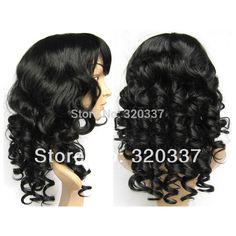 Pour Vente Bouclés Perruque de Cheveux Pleine Tête Perruques Synthétiques Cheveux 1 # Jet Noir Perruque Extensions Synthétique Perruques pour Femmes Livraison gratuite