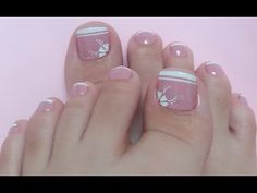 UNHAS DOS PÉS DECORADAS EM ROSA E BRANCO - YouTube Simple Toe Nails, Pretty Toe Nails, Cute Toe Nails, Pedicure Designs, Manicure E Pedicure, Toe Nail Designs, Toe Nail Color, Toe Nail Art, Feet Nail Design