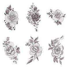 Tattify Floral Temporary Tattoos - A Rose by Any Other Name (Complete Set of 16 Tattoos - 2 of each Style) - Individual Styles Available - High Quality and Fashionable Temporary Tattoos