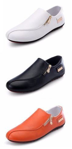 Men Side Zipper British Style Flat Slip On Casual Doug Shoes