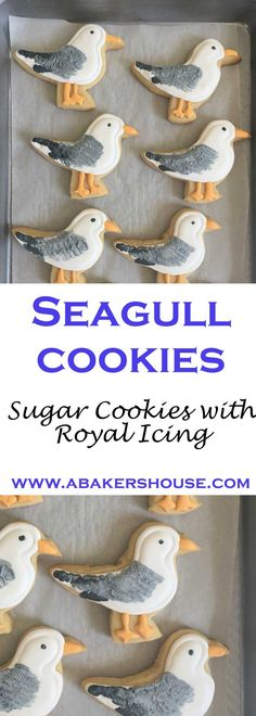 Seagull Cookies | Cut out Sugar Cookies decorated with royal icing | Perfect for a beach and summer theme party! Made by Holly Baker at www.abakershouse.com