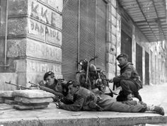 Civil War in Greece, 1945.  Immediately after the end of the Second World War, civil war erupts in Greece and leads to British troops being deployed on the streets of Athens.