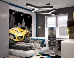 Enchanting wall ideas for bedroom teenager with car wallpaper also gray bedding plus white bed frame including black swivel chair and study table beside shades window