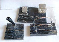 pre-loved-desk set ANTIQUE INKWELL in marble black by 23bestFORyou