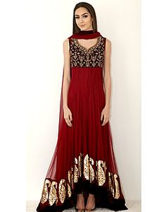 Ruby Red Pointed U Anarkali Dress Maria B Designer Anarkali Suits for Summer 2014