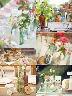 vintage glass bottle centerpieces with floral. Start saving bottles from home and ask family and bridesmaids to do the same. You'll have more than you need trust me. Bottle Centerpieces, Wedding Centerpieces, Wedding Table, Diy Wedding, Wedding Events, Rustic Wedding, Wedding Flowers, Dream Wedding, Wedding Decorations