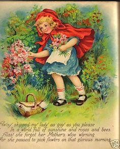 """Frances Brundage-""""LITTLE RED RIDING HOOD""""- LITHO... book page( ebay)"""