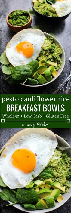 Fresh & Easy Pesto Cauliflower Rice Bowls | Made in 30 minutes or less | Low Carb + Whole30 Compliant + Paleo