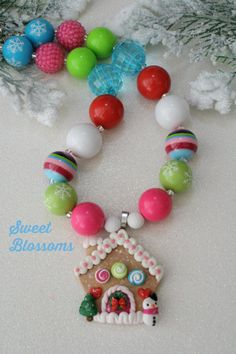 Gingerbread house , chunky bead necklace, bubblegum beads, sweet blossoms