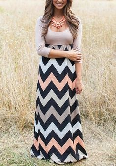 Khaki Striped Patchwork Long Sleeve U-neck High Waisted Slim Maxi Dress