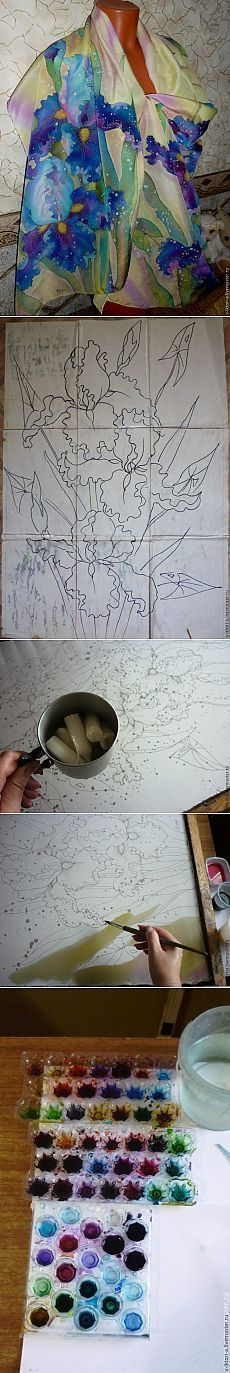 Расписываем палантин «Любимые ирисы» - Ярмарка Мастеров - ручная работа, handmade