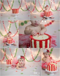 Christmas holiday themed 1st birthday cake smash photography by KristeenMarie Photography