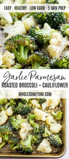 Roasted Broccoli and Cauliflower Recipe with Parmesan & Garlic (Low Carb, Gluten-free) - This healthy roasted broccoli and cauliflower recipe with parmesan and garlic is quick and easy with just 5 ingredients. A delicious way to serve veggies!
