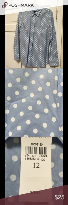 Ann Taylor blouse Gorgeous polka dot blouse.  Button up and sleeves. Ann Taylor Tops Blouses
