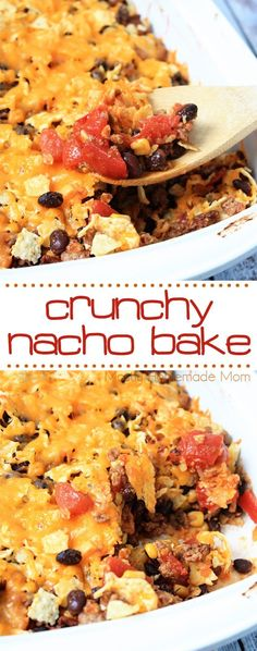 Crunchy Nacho Bake - the perfect weeknight dinner! If your family loves tacos and Mexican food, they will LOVE this casserole recipe! Mexican Dishes, Mexican Food Recipes, New Recipes, Baking Recipes, Snack Recipes, Favorite Recipes, Tostada Recipes, Whole30 Recipes, Tortilla Wraps