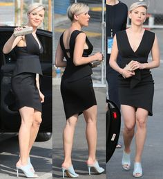 Scarlett Johansson in Cute LBD with Awful Pedro Garcia Mule Shoes