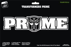 Prime Transformer Word Design Decal Sticker Window Car Truck by DiamondDecalz on Ebay
