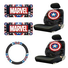 Marvel Comics Captain America Seat Covers W/ Steering Wheel Cover & License Plate Frames 7 Pc Combo