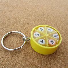 SKANKY  Upcycled Trivial Pursuit Keychain or by gjarvisjewelryetc (Accessories, Keychains & Lanyards, Keychains, plastic, trivial pursuit, yellow round, recycle upcycle, found objects, weird odd strange, fun funny humor, glee geeky nerd dork, SKANKY whore, SKANKY HO, SLUT SLUTTY, bitch bitchy, weird keychain)