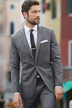 Latest Coat Pant Designs Grey Wedding Suits For Men Blazer Slim Fit Skinny Style Blazer Custom Tuxedo 2 Piece Terno Masculino Costume Gris, Mode Costume, Fashion Mode, Suit Fashion, Mens Fashion, Street Fashion, Fall Fashion, Fashion Menswear, Fashion Photo
