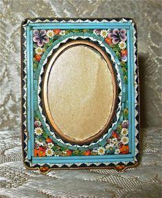 Rare Vintage Rectangular Photo Frame in Millefiori Micro Mosaic  \u2013 From Italy 1960/'s