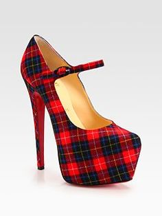 This would have made the Catholic School uniform way cooler! Christian Louboutin - Canvas Tartan Mary Jane Platform Pumps