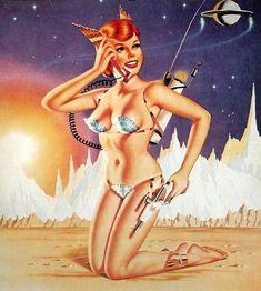 Vintage Sci Fi Pin Up Girl . Retro Futurism / Future Science Fiction / Ray Gun / Futuristic phone
