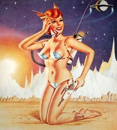 Vintage Sci Fi Pin Up Girl . Retro Futurism / Future Science Fiction / Ray Gun / Futuristic phone