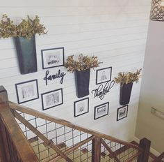 Great family photo display and staircase! Decorating Stairway Walls, Staircase Wall Decor, Stair Walls, Stair Decor, Stairs, Staircase Makeover, Foyer Decorating, Decorating Ideas, Farmhouse Wall Decor