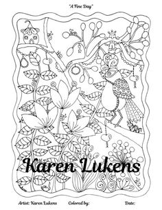 A Fine Day, 1 Adult Coloring Book Page, Printable Instant Download, Karen Lukens