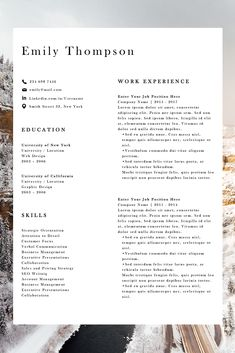 Simple resume examples to make your CV professional. All of these visual resume examples come with a matching cover letter and reference page. Simple Resume Examples, Professional Resume Examples, Cv Examples, Modern Resume Format, Modern Resume Template, Cv Format, Resume Layout, Resume Design, Design Design