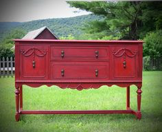 Red Painted Vintage Sideboard by GreenMountainSalvage on Etsy, $600.00