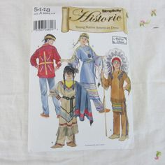 Simplicity Historic Sewing Pattern Childs Native American Dress 5449 Size 3-8 #Simplicity