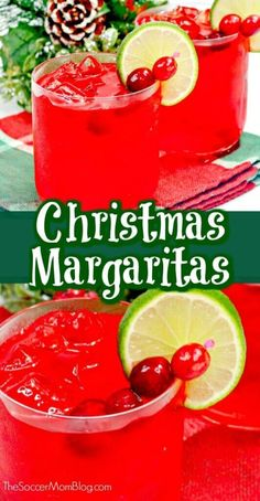 Get into the holiday spirit with a fabulously festive Christmas margarita! These cranberry margaritas are absolutely beautiful and easy to make!