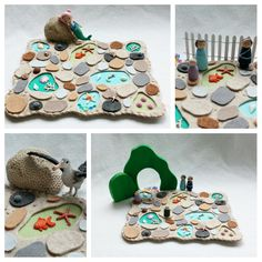 Jewels of the Sea Tide Pools Playscape Play Mat - wool felt storytelling storybook fairytale - seaside ocean starfish beach mermaid toy by MyBigWorld2015 on Etsy