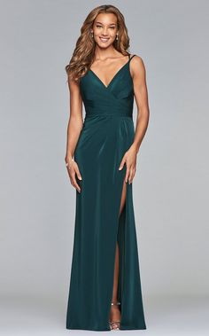 Faviana 7755 Faille Satin V-Neck Gown Faviana Dresses, Satin Dresses, Formal Dresses, Ruched Dress, V Neck Prom Dresses, Prom Dresses Online, Grad Dresses, Dance Dresses, Homecoming Dresses