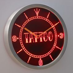 nc0337 Tattoo Shop Neon Sign LED Clock (Free Shipping to usa)
