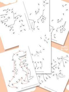 Dibujos para unir puntos ¡de dinosaurios! Dibujos para unir puntos, una actividad divertida que ayuda a desarrollar la motricidad fina. Imprime gratis dibujos de dinosaurios.