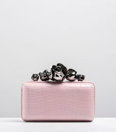 Ralph & Russo - Haute Couture Collection BAGS - STYLE 02-CLUTCH-ROSE-GUNMETAL DETAIL & PINK ALLIGATOR