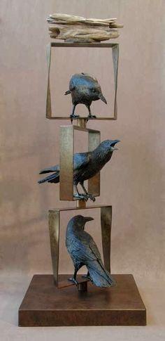 Totem V sculpture bird art crow. Ceramic Birds, Ceramic Animals, Ceramic Art, Sculptures Céramiques, Art Sculpture, Ceramic Sculptures, Raven Art, Crow Art, 3d Studio