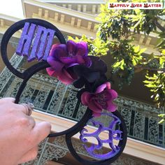 Haunted Mansion Flower Crown 3D Printed Mickey Mouse Ears | Etsy Types Of Flowers, Purple Flowers, Ear Parts, Mickey Mouse Ears, Glue Dots, Haunted Mansion, Make Design, Flower Crown, Purple And Black