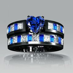 Sapphire Heart Cut with Blue Emerald Cut Sidestone Rhodium Plating Sterling Silver Engagement Ring / Wedding Ring Set