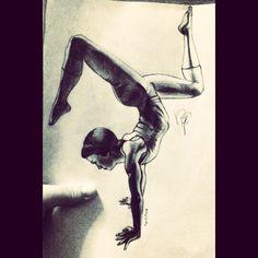 #drawing #pencil #art #handstand #balance #yoga #asana #doublestag #streght