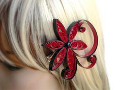 Red Wedding Hair Clip Poppy Red Hair by MiaettiaCreations on Etsy, $22.00