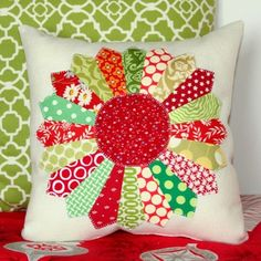 #Christmas #Dresden plate #quilted #pillow