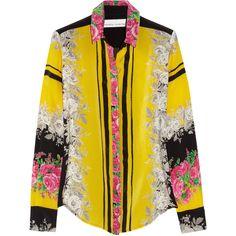 Prabal Gurung Rose-print silk blouse ($545) found on Polyvore