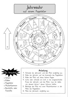 Annual clock on a paper plate – annual cycle - Kinderspiele Learning Centers, Kids Learning, Diy Crafts For Kids, Fall Crafts, Calendar Worksheets, Kindergarten Portfolio, Science, Paper Plates, Elementary Schools